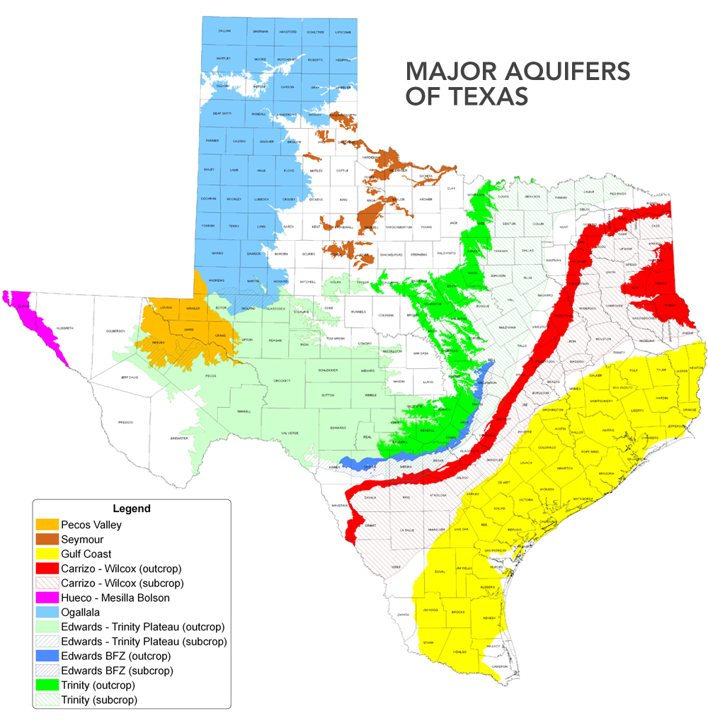 Major Aquifers of Texas